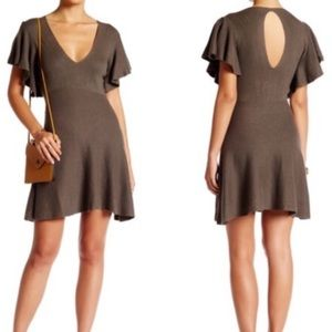 Free People Green Cozy Nights Knit Skater Dress